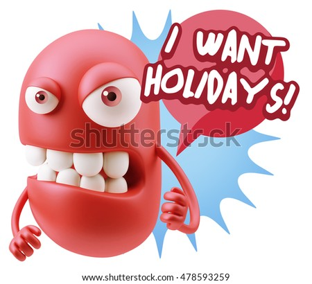 3d Rendering Angry Character Emoji saying I Want Holidays with Colorful Speech Bubble.