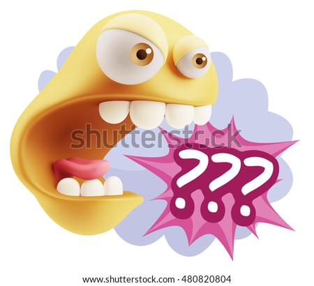 3d Rendering Angry Character Emoji saying ??? with Colorful Speech Bubble.