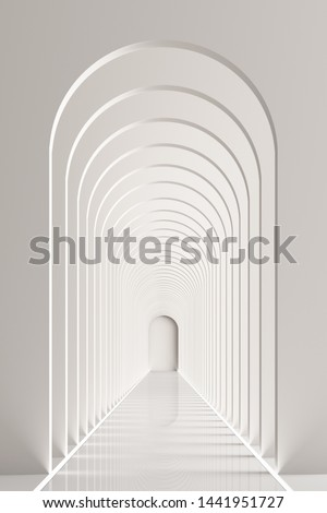 3d rendering arc rhythm hallway with LED strip light in white color tone