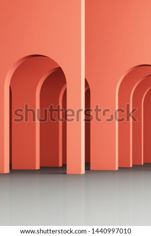 3d rendering arc rhythm in orange and grey color.