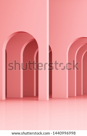 3d rendering arc rhythm in pink color tone.