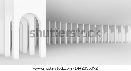 3d rendering arc rhythm in white color tone.