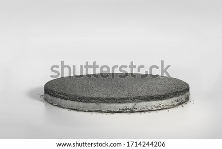 3D rendering asphalt road on circle layered concrete cross section , realistic 3D cement round cutaway with tar road isolated on white bg