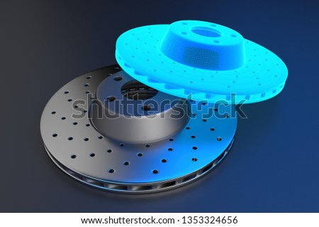 3D rendering. Auto spare parts for passenger car, new brake disk on grey background. Multicolored brake disk for brake system