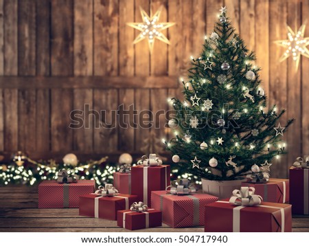 3d rendering. beautiful gift with Christmas tree.