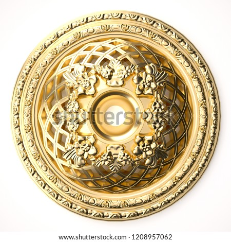 3d rendering beautiful golden relief isolated on white. luxury carving decoration of architecture. classic interior detail made of gold.