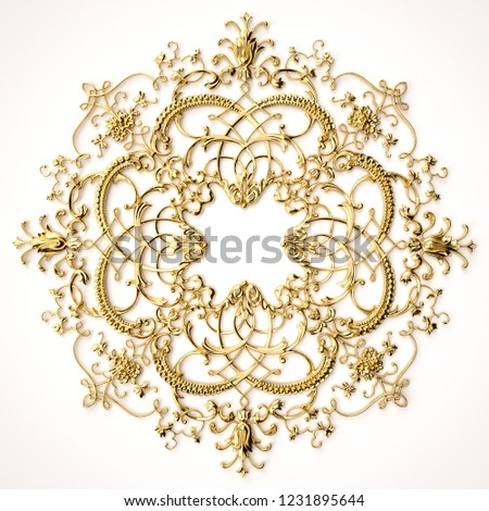 3d rendering beautiful golden relief isolated on white. luxury carving decoration of architecture. classic interior detail made of gold. Upholstery