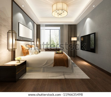 3d rendering beautiful luxury bedroom suite in hotel with tv  #1196635498