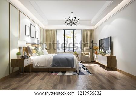 3d rendering beautiful luxury bedroom suite in hotel with tv  #1219956832