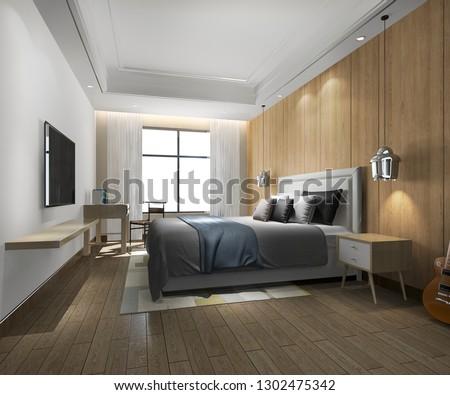 3d rendering beautiful luxury bedroom suite in hotel with tv  #1302475342