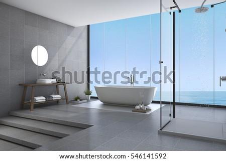 3d rendering beautiful steps modern bathroom near sea view