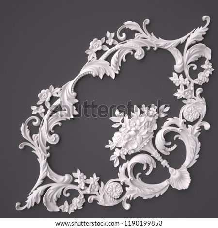 3d rendering beautiful white Gypsum carving decoration of architecture. classic interior detail made of plaster. #1190199853