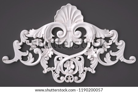 3d rendering beautiful white Gypsum carving decoration of architecture. classic interior detail made of plaster. #1190200057