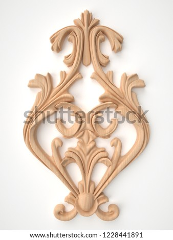 3d rendering beautiful wooden relief isolated on white. carving decoration of architecture. classic interior detail made of wood. #1228441891