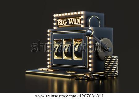 3d Rendering Big Win Slot Machine