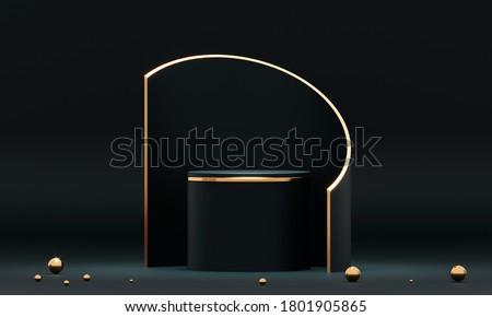 3D rendering black podium geometry with gold elements. Product presentation blank podium. Minimal scene round step floor abstract composition. Empty showcase, pedestal platform display Foto d'archivio ©