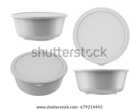 3D rendering Blank big white bowl with plastic lid for instant noodles, mashed potato or soup, Mock up Packaging template