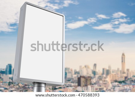 3d rendering blank billboard with cityscape background