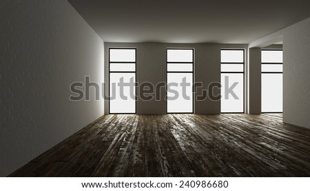 3D rendering. blank interior with brick wall #240986680