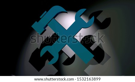 3D rendering. Blue hammer and wrench icon. Utility symbol. Tools sign. Symbolism for handyman, craft, services, maintenance, manufacture or repairs. Dark background image.