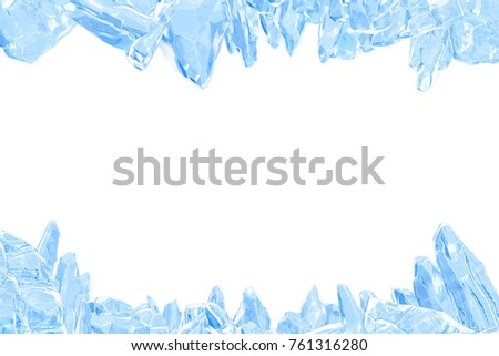 3D Rendering, Broken Blue crystal Ice Wall with Hole and Place For Your Text isolated on white background.