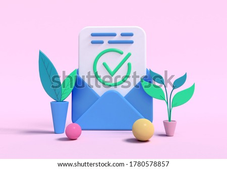 3d rendering, Business e-mail. Open envelope with check mark on sheet of paper. Approved, document accepted, corfirmed, successful subscription.