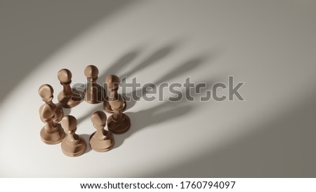 3D rendering business leadership, teamwork power and confidence concept. copy spaec.