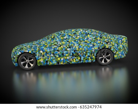3D rendering: Car and carbody made out of colorful cubes. Zdjęcia stock ©