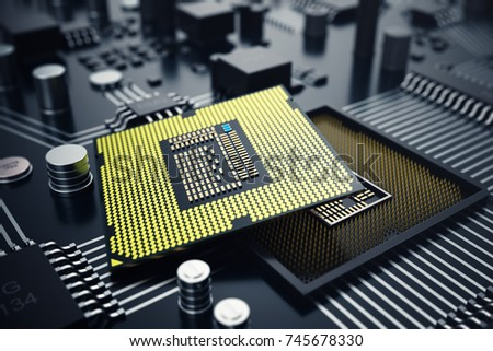 Stock Photo 3D rendering Central Computer Processors CPU concept. Electronic engineer of computer technology. Computer board chip circuit cpu core. Hardware concept electronic device motherboard semiconductor