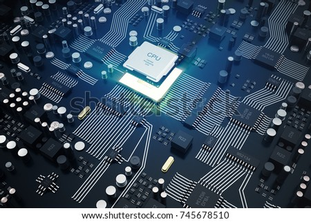 3D rendering Central Computer Processors CPU concept. Electronic engineer of computer technology. Computer board chip circuit cpu core. Hardware concept electronic device motherboard semiconductor