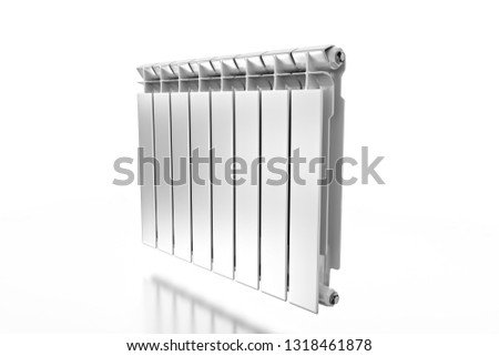 3D rendering. Central heating radiator with many sections. White heating radiator on white background. #1318461878