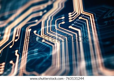 3d rendering. Circuit board futuristic server code processing. Orange, green, blue technology background with bokeh.