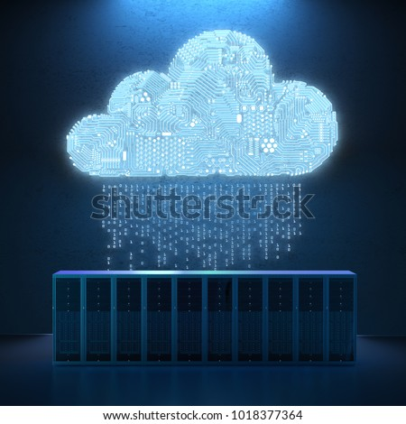 3d rendering circuit cloud with server computer Stock photo ©