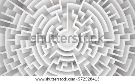 3d rendering circular maze in top view