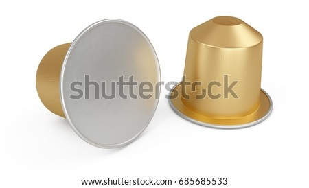 3D Rendering classic coffee capsules isolated on white