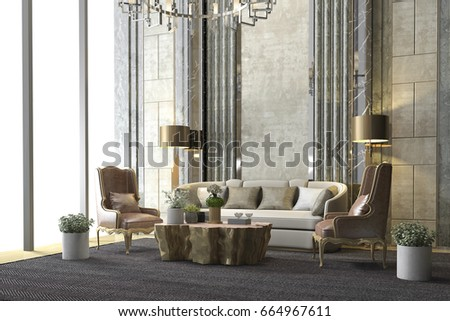3d rendering classic luxury living room with chandelier and decor