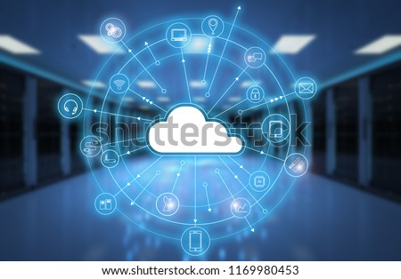 3d rendering cloud computing technology in server room Stock photo ©