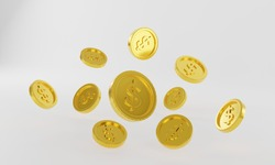 3d rendering,coins stack,Pile of golden coins,Finance, bank operations,Graphic design element for web.