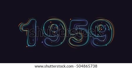 Shutterstock 3d rendering colored strokes and particles year 1959