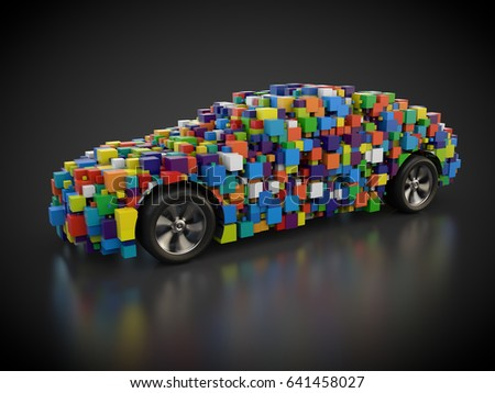 3D rendering: colorful car with abstract carbody made out of cubes Zdjęcia stock ©