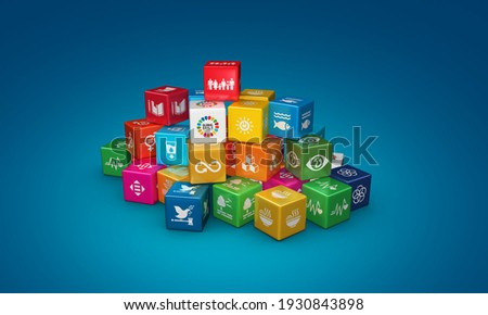 3D rendering colorful cubes Illustration of Corporate social responsibility. Concept design to achieve Sustainable Development for a better world. 3D Icons. 3D Illustration.