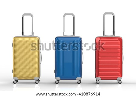 3d rendering colorful luggages on white background