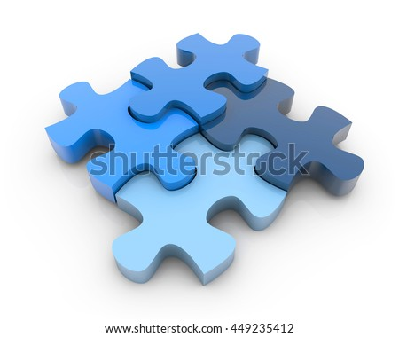 3D Rendering colorful puzzle pieces