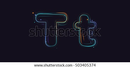 3d rendering colorful strokes and particles typeface illustration on dark background T