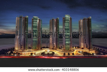 3d rendering - commercial and residential complex - night view