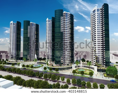 3d rendering - commercial and residential complex - roof garden