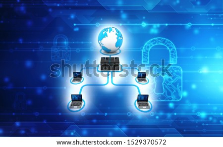 3d rendering Computer network, Computer network with server