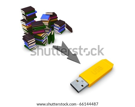 3D rendering concept Digital and conventional storage. Isolated on white background.