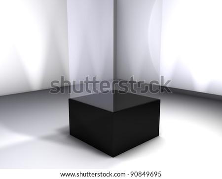 3d rendering, Concept display room, empty glass box.