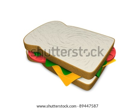 3d rendering, concept illustration of sandwich, isolated on white.